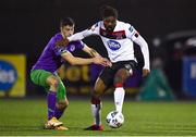 27 September 2020; Nathan Oduwa of Dundalk in action against Neil Farrugia of Shamrock Rovers during the SSE Airtricity League Premier Division match between Dundalk and Shamrock Rovers at Oriel Park in Dundalk, Louth. Photo by Ben McShane/Sportsfile