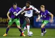 27 September 2020; Nathan Oduwa of Dundalk in action against Neil Farrugia, left, and Liam Scales of Shamrock Rovers during the SSE Airtricity League Premier Division match between Dundalk and Shamrock Rovers at Oriel Park in Dundalk, Louth. Photo by Ben McShane/Sportsfile