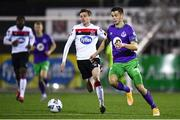 27 September 2020; Neil Farrugia of Shamrock Rovers in action against Daniel Kelly of Dundalk during the SSE Airtricity League Premier Division match between Dundalk and Shamrock Rovers at Oriel Park in Dundalk, Louth. Photo by Ben McShane/Sportsfile