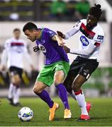 27 September 2020; Aaron Greene of Shamrock Rovers in action against Nathan Oduwa of Dundalk during the SSE Airtricity League Premier Division match between Dundalk and Shamrock Rovers at Oriel Park in Dundalk, Louth. Photo by Ben McShane/Sportsfile