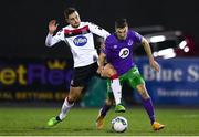 27 September 2020; Jordan Flores of Dundalk fouls Neil Farrugia of Shamrock Rovers during the SSE Airtricity League Premier Division match between Dundalk and Shamrock Rovers at Oriel Park in Dundalk, Louth. Photo by Ben McShane/Sportsfile