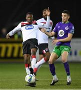 27 September 2020; Val Adedokun of Dundalk in action against Gary O'Neill of Shamrock Rovers during the SSE Airtricity League Premier Division match between Dundalk and Shamrock Rovers at Oriel Park in Dundalk, Louth. Photo by Stephen McCarthy/Sportsfile