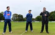 28 September 2020; Match referee Kevin Gallagher, right, makes the toss in front of team captains George Dockrell of Leinster Lightning, left, and Andy McBrine of North West Warriors ahead of the Test Triangle Inter-Provincial Series 50 over match between Leinster Lightning and North-West Warriors at Malahide Cricket in Dublin. Photo by Sam Barnes/Sportsfile