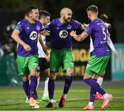 27 September 2020; Shamrock Rovers players, from left, Aaron Greene, Joey O'Brien and Lee Grace celebrate their second goal during the SSE Airtricity League Premier Division match between Dundalk and Shamrock Rovers at Oriel Park in Dundalk, Louth. Photo by Stephen McCarthy/Sportsfile