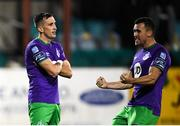 27 September 2020; Aaron McEneff is congratulated by Shamrock Rovers team-mate Aaron Greene, right, after scoring their third goal during the SSE Airtricity League Premier Division match between Dundalk and Shamrock Rovers at Oriel Park in Dundalk, Louth. Photo by Stephen McCarthy/Sportsfile