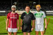 27 September 2020; Referee Ray Byrne with team captains Conor Doheny of Dicksboro, left, and Richie Reid of Ballyhale Shamrocks prior to the Kilkenny County Senior Hurling Championship Final match between Ballyhale Shamrocks and Dicksboro at UPMC Nowlan Park in Kilkenny. Photo by Seb Daly/Sportsfile