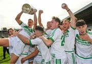 27 September 2020; Ballyhale Shamrocks captain Richie Reid, left, is lifted up by his team-mates following their side's victory during the Kilkenny County Senior Hurling Championship Final match between Ballyhale Shamrocks and Dicksboro at UPMC Nowlan Park in Kilkenny. Photo by Seb Daly/Sportsfile