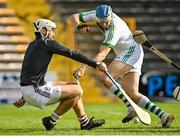 27 September 2020; TJ Reid of Ballyhale Shamrocks in action against Darragh Holohan of Dicksboro during the Kilkenny County Senior Hurling Championship Final match between Ballyhale Shamrocks and Dicksboro at UPMC Nowlan Park in Kilkenny. Photo by Seb Daly/Sportsfile