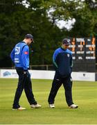 28 September 2020; Andy McBrine of North West Warriors, left, and George Dockrell of Leinster Lightning, inspect the pitch during the Test Triangle Inter-Provincial Series 50 over match between Leinster Lightning and North-West Warriors at Malahide Cricket in Dublin. Photo by Sam Barnes/Sportsfile