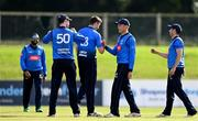 28 September 2020; Leinster Lightning players including Peter Chase, centre left, and Jack Tector , centre, celebrate the wicket of Will Smale of North West Warriors  during the Test Triangle Inter-Provincial Series 50 over match between Leinster Lightning and North-West Warriors at Malahide Cricket in Dublin. Photo by Sam Barnes/Sportsfile