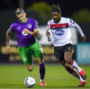 27 September 2020; Nathan Oduwa of Dundalk and Lee Grace of Shamrock Rovers during the SSE Airtricity League Premier Division match between Dundalk and Shamrock Rovers at Oriel Park in Dundalk, Louth. Photo by Ben McShane/Sportsfile