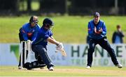 28 September 2020; William Porterfield of North West Warriors is bowled LBW by Simi Singh of Leinster Lightning, watched by Lorcan Tucker, left, and George Dockrell of Leinster Lightning during the Test Triangle Inter-Provincial Series 50 over match between Leinster Lightning and North-West Warriors at Malahide Cricket in Dublin. Photo by Sam Barnes/Sportsfile