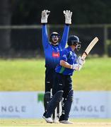28 September 2020; Lorcan Tucker of Leinster Lightning appeals as William Porterfield of North West Warriors is bowled LBW by Simi Singh of Leinster Lightning Lightning during the Test Triangle Inter-Provincial Series 50 over match between Leinster Lightning and North-West Warriors at Malahide Cricket in Dublin. Photo by Sam Barnes/Sportsfile