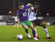 27 September 2020; Jack Byrne of Shamrock Rovers and Nathan Oduwa of Dundalk during the SSE Airtricity League Premier Division match between Dundalk and Shamrock Rovers at Oriel Park in Dundalk, Louth. Photo by Ben McShane/Sportsfile
