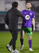 27 September 2020; Jack Byrne of Shamrock Rovers and Dundalk assistant coach Giuseppe Rossi following the SSE Airtricity League Premier Division match between Dundalk and Shamrock Rovers at Oriel Park in Dundalk, Louth. Photo by Ben McShane/Sportsfile