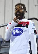 27 September 2020; Nathan Oduwa of Dundalk ahead of the SSE Airtricity League Premier Division match between Dundalk and Shamrock Rovers at Oriel Park in Dundalk, Louth. Photo by Ben McShane/Sportsfile