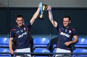 27 September 2020; Cuala joint captains Con O'Callaghan, left, and Luke Tracey lift the cup after the Dublin County Senior 2 Football Championship Final match between Cuala and St Brigid's at Parnell Park in Dublin. Photo by Piaras Ó Mídheach/Sportsfile