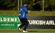 28 September 2020; Stuart Thompson of North West Warriors catches Simi Singh of Leinster Lightning during the Test Triangle Inter-Provincial Series 50 over match between Leinster Lightning and North-West Warriors at Malahide Cricket in Dublin. Photo by Sam Barnes/Sportsfile