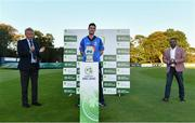 28 September 2020; Leinster Lightning captain George Dockrell is applauded as he collects the IP50 trophy, alongside Cricket Ireland president Philip Black, left, and Praveen Madire, CEO of Test Triangle during the Test Triangle Inter-Provincial Series 50 over match between Leinster Lightning and North-West Warriors at Malahide Cricket in Dublin. Photo by Sam Barnes/Sportsfile