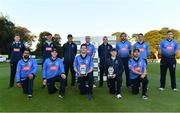 28 September 2020; The Leinster team pictured with IP50 and IP20 trophies following the Test Triangle Inter-Provincial Series 50 over match between Leinster Lightning and North-West Warriors at Malahide Cricket in Dublin. Photo by Sam Barnes/Sportsfile