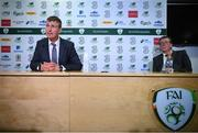 29 September 2020; Republic of Ireland manager Stephen Kenny and FAI Director of Communications Cathal Dervan, right, during his squad announcement press conference at FAI Headquarters in Abbotstown, Dublin. Photo by Stephen McCarthy/Sportsfile