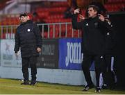 29 September 2020; Sligo Rovers manager Liam Buckley, left, and Derry City manager Declan Devine during the SSE Airtricity League Premier Division match between Sligo Rovers and Derry City at The Showgrounds in Sligo. Photo by Stephen McCarthy/Sportsfile