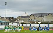 27 September 2020; Players from both side's observe a minutes silence for the late Cork City volunteers John Kennedy ahead of the SSE Airtricity League Premier Division match between Finn Harps and Cork City at Finn Park in Ballybofey, Donegal. Photo by Eóin Noonan/Sportsfile