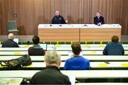 30 September 2020; Dundalk interim head coach Filippo Giovagnoli and Dundalk media officer Darren Crawley, right, during a Dundalk press conference at the Aviva Stadium in Dublin. Photo by Stephen McCarthy/Sportsfile