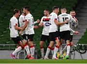 1 October 2020; Sean Murray of Dundalk, right, celebrates with team-mates after scoring their side's first goal during the UEFA Europa League Play-off match between Dundalk and Ki Klaksvik at the Aviva Stadium in Dublin. Photo by Ben McShane/Sportsfile
