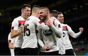 1 October 2020; Sean Murray of Dundalk celebrates with team-mates after scoring his side's first goal during the UEFA Europa League Play-off match between Dundalk and Ki Klaksvik at the Aviva Stadium in Dublin. Photo by Stephen McCarthy/Sportsfile