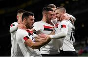 1 October 2020; Sean Murray, right, of Dundalk celebrates with team-mates, from left, Darragh Leahy, Patrick Hoban, Michael Duffy and Patrick McEleney after scoring his side's first goal during the UEFA Europa League Play-off match between Dundalk and Ki Klaksvik at the Aviva Stadium in Dublin. Photo by Stephen McCarthy/Sportsfile