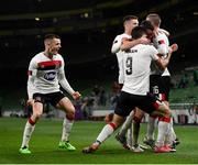 1 October 2020; Sean Murray of Dundalk celebrates with team-mates including Darragh Leahy, left, after scoring his side's first goal during the UEFA Europa League Play-off match between Dundalk and Ki Klaksvik at the Aviva Stadium in Dublin. Photo by Stephen McCarthy/Sportsfile