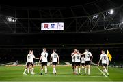 1 October 2020; Dundalk players celebrate after Sean Murray, 16, scored their first goal during the UEFA Europa League Play-off match between Dundalk and Ki Klaksvik at the Aviva Stadium in Dublin. Photo by Stephen McCarthy/Sportsfile