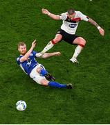 1 October 2020; Odmar Faerø of Ki Klaksvik in action against Sean Murray of Dundalk during the UEFA Europa League Play-off match between Dundalk and Ki Klaksvik at the Aviva Stadium in Dublin. Photo by Eóin Noonan/Sportsfile