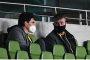 1 October 2020; Republic of Ireland manager Stephen Kenny, right, and Republic of Ireland coach Keith Andrews watch on during the UEFA Europa League Play-off match between Dundalk and Ki Klaksvik at the Aviva Stadium in Dublin. Photo by Stephen McCarthy/Sportsfile