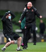 1 October 2020; Dundalk opposition analyst and coach Shane Keegan celebrates his side's third goal during the UEFA Europa League Play-off match between Dundalk and Ki Klaksvik at the Aviva Stadium in Dublin. Photo by Stephen McCarthy/Sportsfile