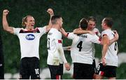 1 October 2020; Dundalk players, from left, Greg Sloggett, Patrick McEleney, Sean Hoare, 4, Daniel Cleary and John Mountney celebrate following the UEFA Europa League Play-off match between Dundalk and Ki Klaksvik at the Aviva Stadium in Dublin. Photo by Stephen McCarthy/Sportsfile