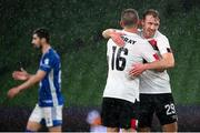 1 October 2020; David McMillan, right, and Sean Murray of Dundalk celebrate following the UEFA Europa League Play-off match between Dundalk and Ki Klaksvik at the Aviva Stadium in Dublin. Photo by Stephen McCarthy/Sportsfile