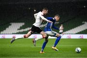 1 October 2020; Jesper Brinck of Ki Klaksvik in action against Daniel Kelly of Dundalk during the UEFA Europa League Play-off match between Dundalk and Ki Klaksvik at the Aviva Stadium in Dublin. Photo by Stephen McCarthy/Sportsfile