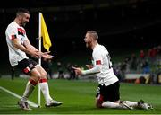 1 October 2020; Sean Murray celebrates with Dundalk team-mate Michael Duffy, left, after scoring his side's opening goal during the UEFA Europa League Play-off match between Dundalk and Ki Klaksvik at the Aviva Stadium in Dublin. Photo by Stephen McCarthy/Sportsfile