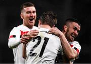 1 October 2020; Daniel Cleary, 21, of Dundalk celebrates after scoring his side's second goal with team-mates Patrick McEleney, left, and Michael Duffy during the UEFA Europa League Play-off match between Dundalk and Ki Klaksvik at the Aviva Stadium in Dublin. Photo by Ben McShane/Sportsfile
