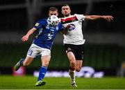 1 October 2020; Jóannes Danielsen of Ki Klaksvik and Michael Duffy of Dundalk during the UEFA Europa League Play-off match between Dundalk and Ki Klaksvik at the Aviva Stadium in Dublin. Photo by Ben McShane/Sportsfile