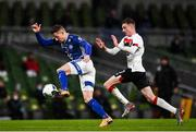 1 October 2020; Jesper Brinck of Ki Klaksvik and Daniel Kelly of Dundalk during the UEFA Europa League Play-off match between Dundalk and Ki Klaksvik at the Aviva Stadium in Dublin. Photo by Ben McShane/Sportsfile