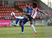 2 October 2020; Walter Figueira of Derry City in action against Robert Weir of Waterford during the SSE Airtricity League Premier Division match between Derry City and Waterford at Ryan McBride Brandywell Stadium in Derry. Photo by Piaras Ó Mídheach/Sportsfile