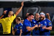 2 October 2020; Rónan Kelleher, left, and Michael Bent of Leinster celebrate a penalty during the Guinness PRO14 match between Leinster and Dragons at the RDS Arena in Dublin. Photo by Ramsey Cardy/Sportsfile