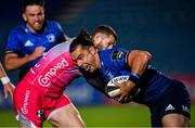 2 October 2020; James Lowe of Leinster is tackled by Jonah Holmes of Dragons during the Guinness PRO14 match between Leinster and Dragons at the RDS Arena in Dublin. Photo by Ramsey Cardy/Sportsfile
