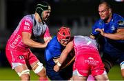 2 October 2020; Josh van der Flier of Leinster is tackled by Joe Maksymiw, left, and Harrison Keddie of Dragons during the Guinness PRO14 match between Leinster and Dragons at the RDS Arena in Dublin. Photo by Ramsey Cardy/Sportsfile