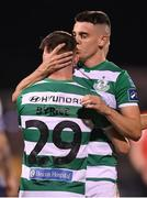 2 October 2020; Jack Byrne is congratulated by Shamrock Rovers team-mate Gary O'Neill, right, after scoring this third goal during the SSE Airtricity League Premier Division match between Shamrock Rovers and Sligo Rovers at Tallaght Stadium in Dublin. Photo by Stephen McCarthy/Sportsfile