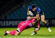 2 October 2020; Hugo Keenan of Leinster is tackled by Brok Harris of Dragons during the Guinness PRO14 match between Leinster and Dragons at the RDS Arena in Dublin. Photo by Harry Murphy/Sportsfile