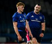 2 October 2020; Cian Healy of Leinster, right, and Tommy O'Brien of Leinster following the Guinness PRO14 match between Leinster and Dragons at the RDS Arena in Dublin. Photo by Harry Murphy/Sportsfile